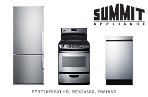 Summit 3-Piece Stainless Steel Apartment-Sized Kitchen Appliance Package