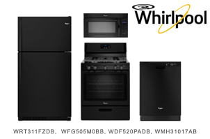 Whirlpool Black Top Mount Kitchen Appliance Package