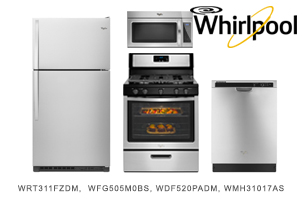 Whirlpool Stainless Steel Top Mount Kitchen Appliance Package