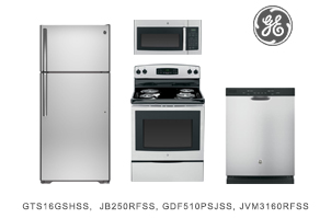GE Stainless Steel Top Mount Kitchen Appliance Package